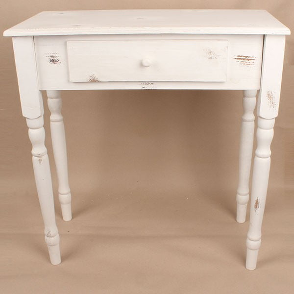 Stół drewniany z szufladą White Days, 74x78 cm