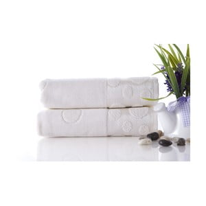Zestaw 2 ręczników Tropical Ecru, 50x90 cm