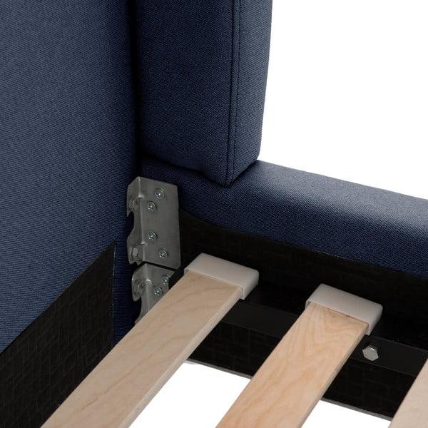 Granatowe łóżko z czarnymi nóżkami Vivonita Windsor, 160x200 cm