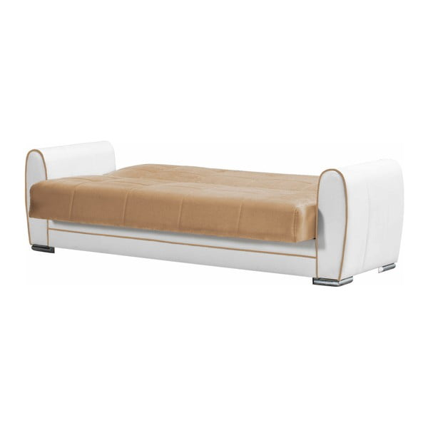 Jasnobeżowo-kremowa dwuosobowa sofa rozkładana ze schowkiem Esidra Rest