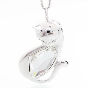 Naszyjnik ze Swarovski Elements, biała kotka