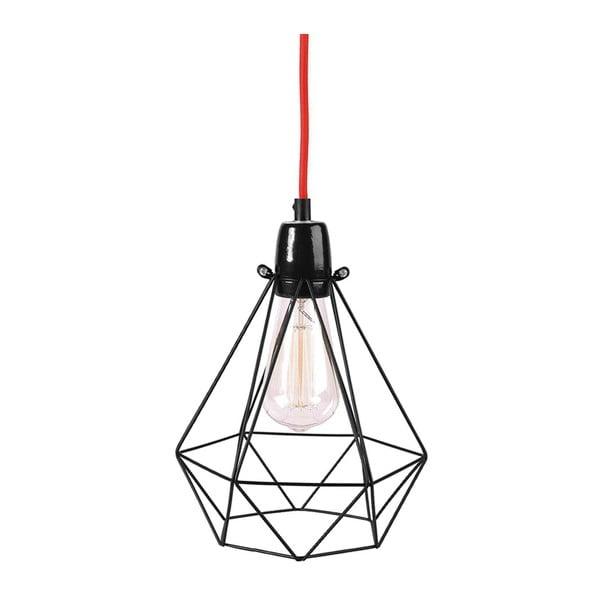 Czerwona lampa wisząca z czerwonym kablem Filament Style Diamond #1