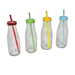 Zestaw 4 butelek z rurką Retro