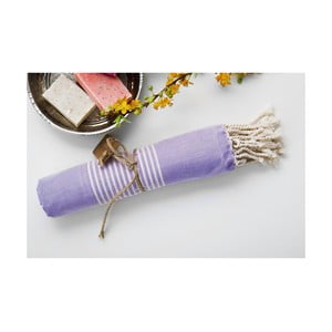 Ręcznik hamam Line Lilac, 100x180 cm