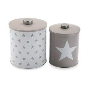 Zestaw 2 metalowych pojemników White&Grey Stars