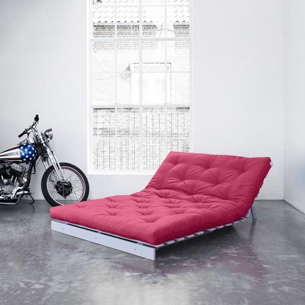 Sofa rozkładana Karup Roots Cool Gray/Magenta