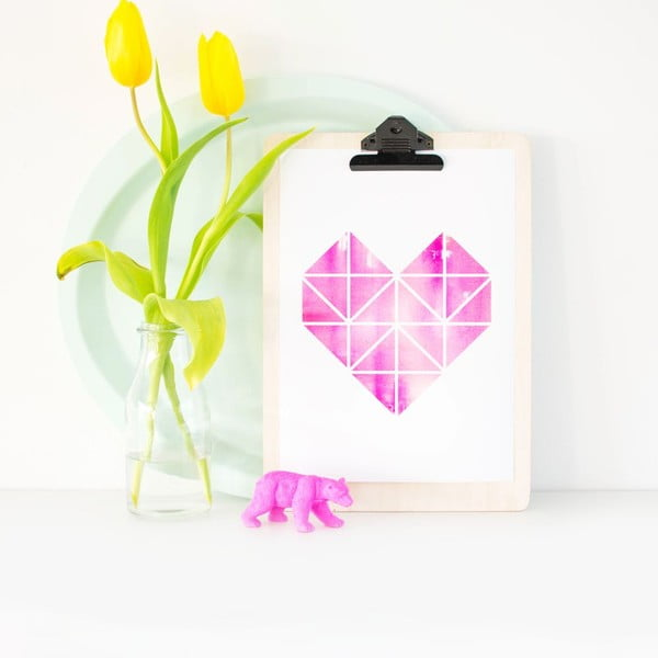 Plakat Origami Herz Pink, A3