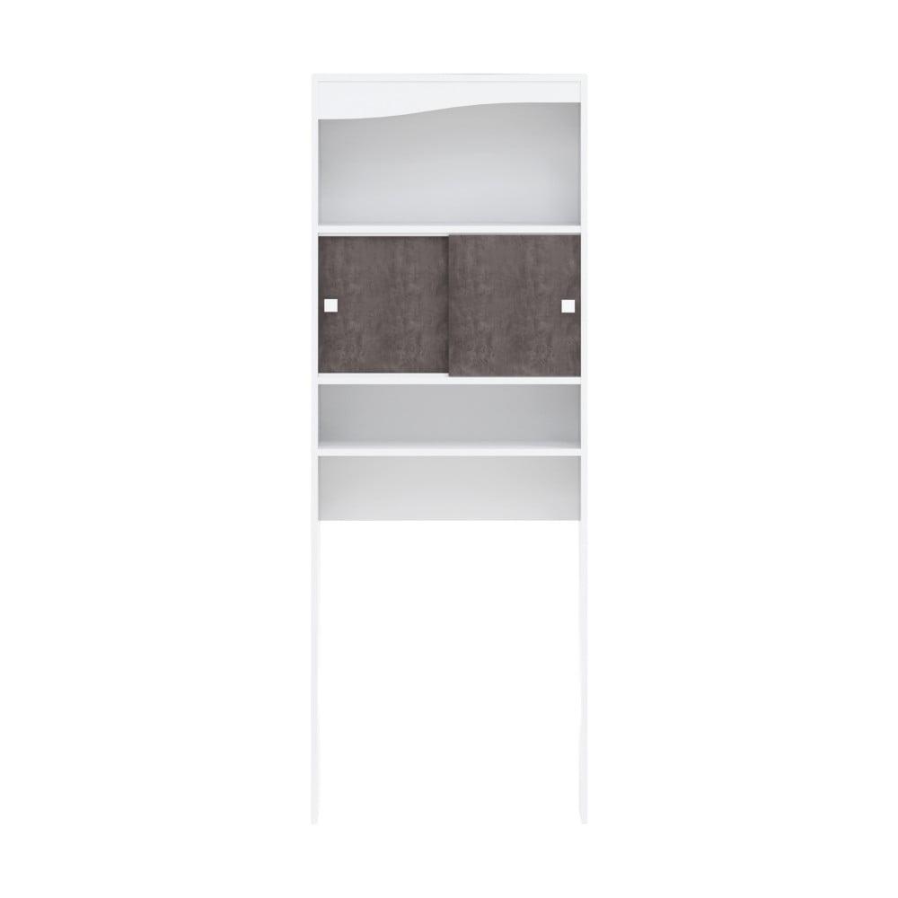 Biały regał z półkami i szafką nad pralkę w dekorze betonu TemaHome Wave