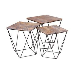 Zestaw 3 stolików z szarym blatem z drewna mangowego House Nordic Ranchi