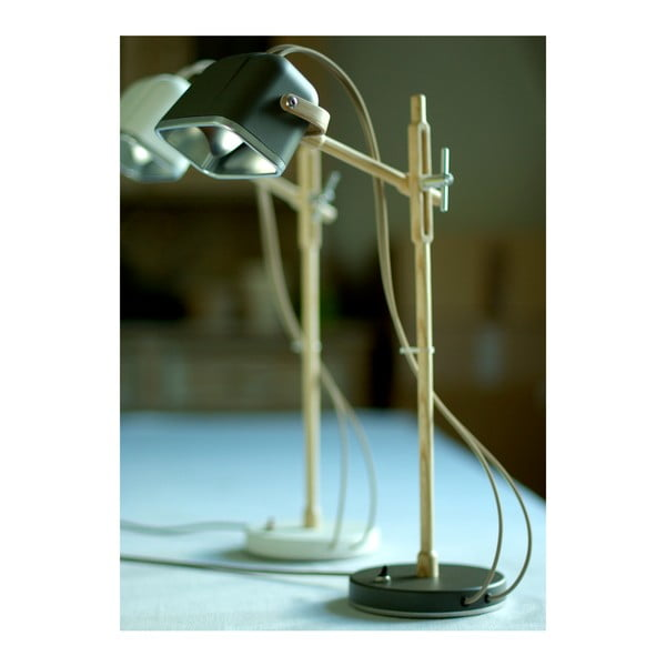 Lampa stołowa Mob Wood, szara