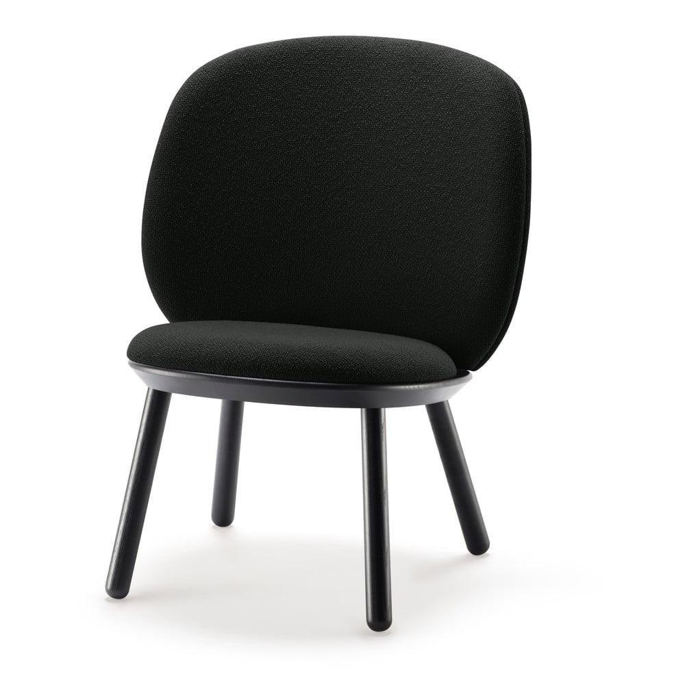Czarny wełniany fotel EMKO Naïve