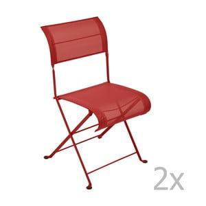 Zestaw 2 makowych krzeseł składanych Fermob Dune