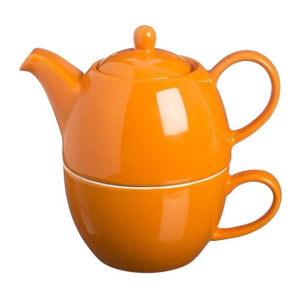 Dzbanek do herbaty z filiżanką Tea For One Bright Orange, 400 ml
