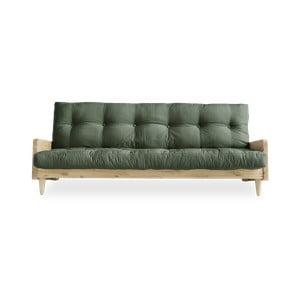 Sofa rozkładana z zielonym obiciem Karup Design Indie Natural/Olive Green