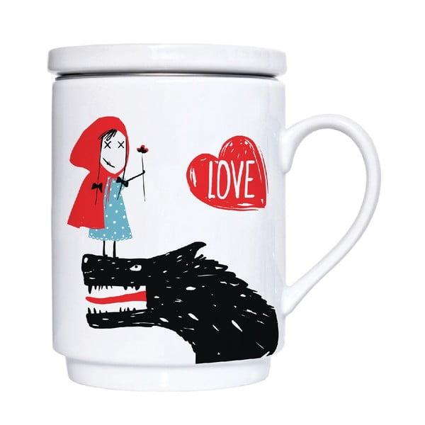 Kubek porcelanowy z sitkiem i przykrywką Red Love, 300 ml