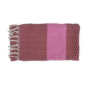 Fioletowy ręcznie tkany ręcznik z bawełny premium Damla,100x180 cm