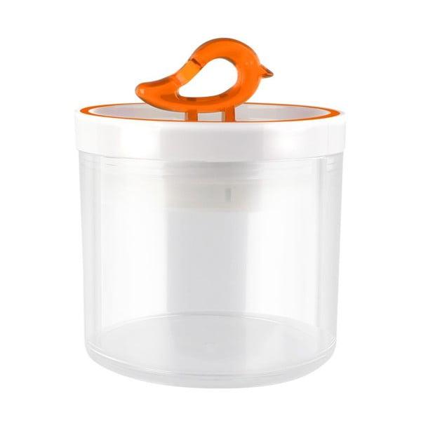 Przezroczysty pojemnik z pomarańczowym detalem Vialli Design Livio, 0,4 l