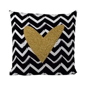 Poduszka Black Shake Gold Heart, 50x50 cm