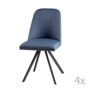 Zestaw 4 jasnoniebieskich krzeseł obrotowych sømcasa Cris