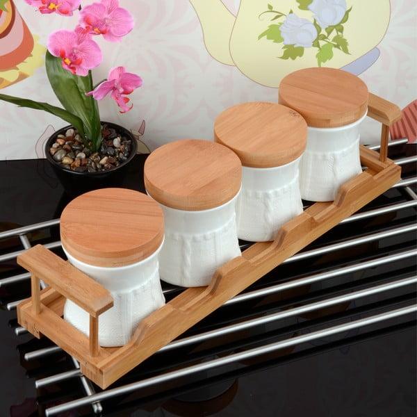 Bambusowy stojak z 4 pojemnikami Bambul