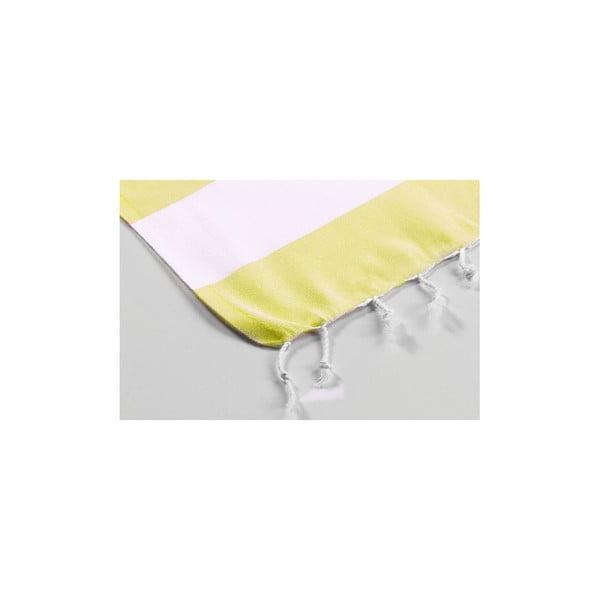 Ręcznik hammam Myra Yellow White, 100x180 cm