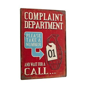 Tablica Complaint department, 35x26 cm