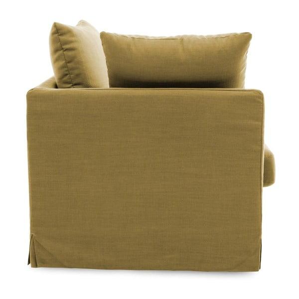 Musztardowa sofa dwuosobowa Vivonita Coraly