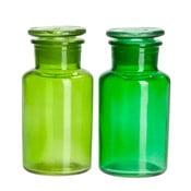 Zestaw 2 pojemników Glass Green, 7x7x14 cm