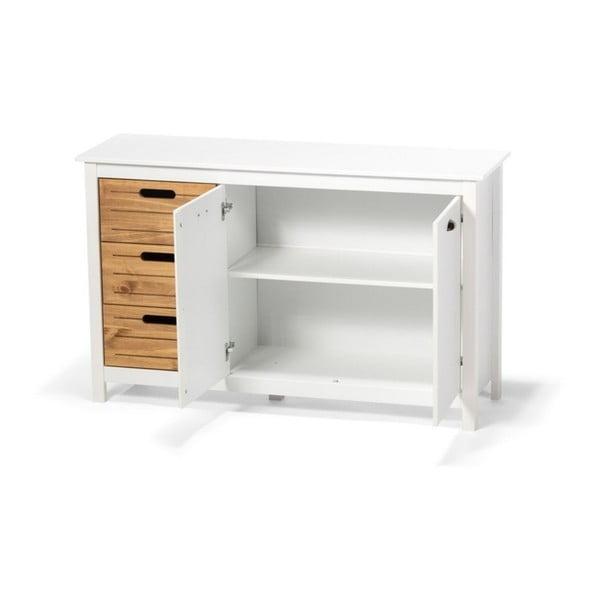 Biały kredens z drewna sosnowego z 5 szufladami loomi.design Ibiza