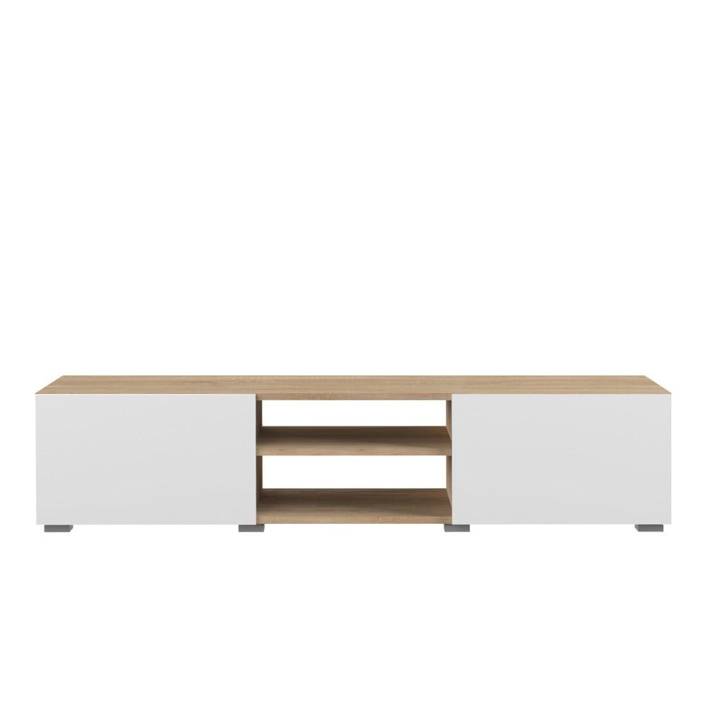 Biała szafka pod TV z blatem z dekorem drewna bukowego TemaHome Podium