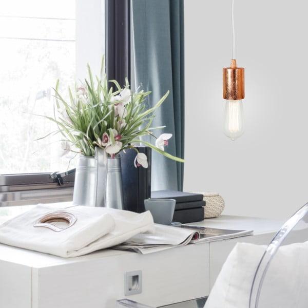 Biało-miedziana lampa wisząca Bulb Attack Cero