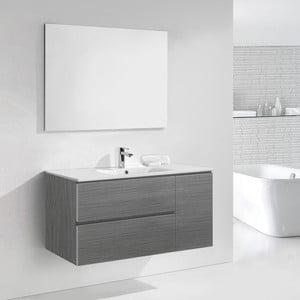 Szafka do łazienki z umywalką i lustrem Happy, odcień szarości, 120 cm