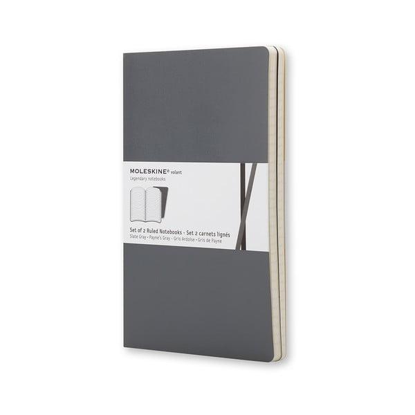 Zestaw 2 notesów  Moleskine Slate Grey, w linie 13x21 cm