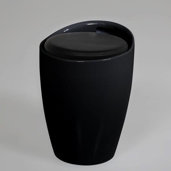 Stołek/puf ze schowkiem Minxie, czarny