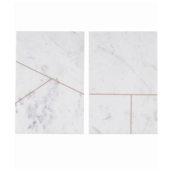 Zestaw 2 marmurowych mat stołowych Marble White, 20x30 cm