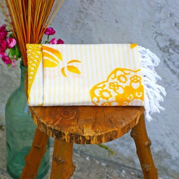 Ręcznik hamam Striped Yellow, 90x180 cm