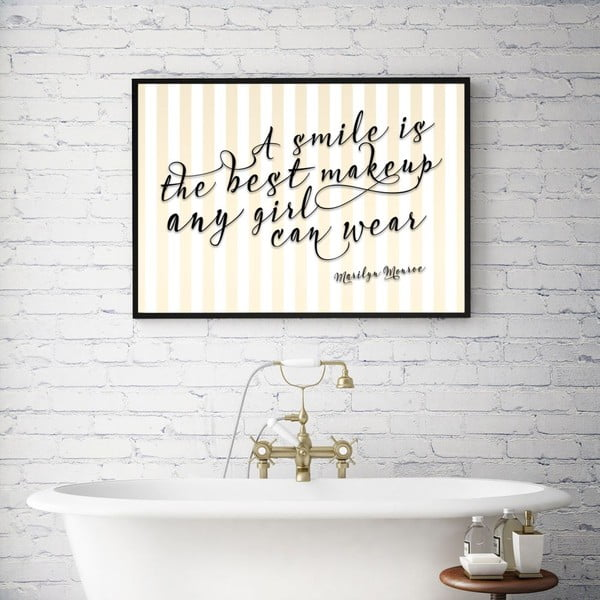Plakat w drewnianej ramie A smile is the best make up, 38x28 cm