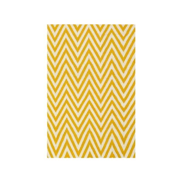 Dywan wełniany Zig Zag Yellow, 200x140 cm