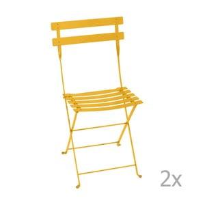 Zestaw 2 żółtych składanych krzeseł ogrodowych Fermob Bistro