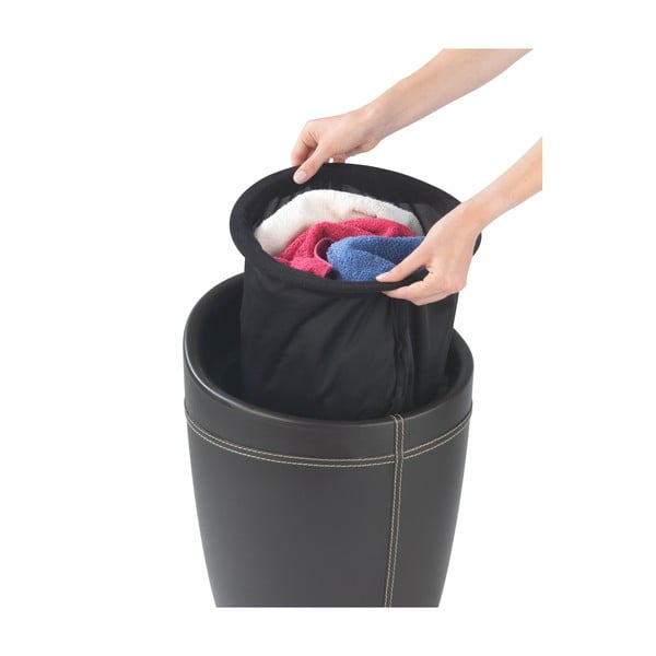 Kosz na pranie i taboret w jedym Candy Look, czarny