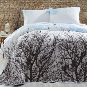 Pikowana narzuta z poszewkami na poduszki Peace Blue, 200x220cm