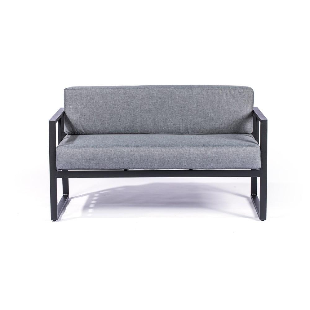 Ciemnoszara 2-osobowa sofa ogrodowa z czarną konstrukcją Le Bonom Bellisima