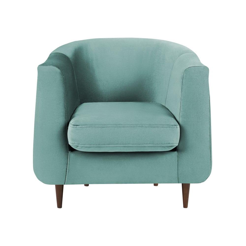 Turkusowy aksamitny fotel Kooko Home Glam