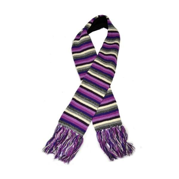 Wełniany szalik z polarową podszewką Violet Stripes