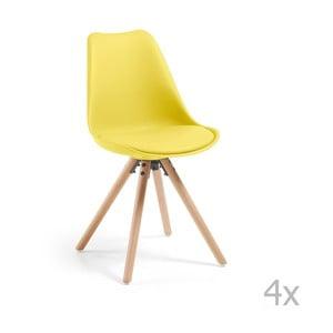 Zestaw 4 żółtych krzeseł do jadalni La Forma Lars
