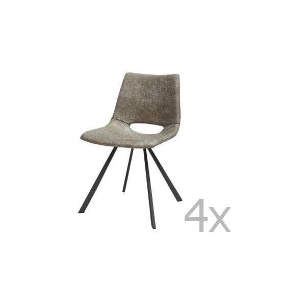 Zestaw 4 szarych krzeseł Canett Coronas Poly