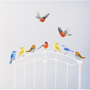 Naklejka wielokrotnego użytku Pastelowe Ptaki, 30x21 cm