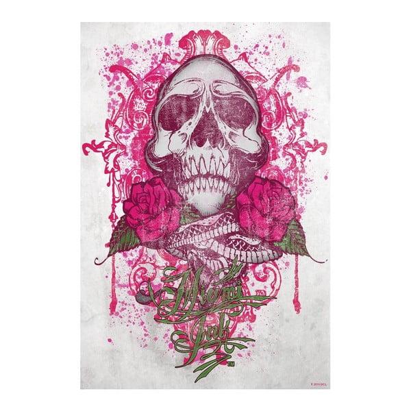Tapeta wielkoformatowa Miami Ink - Różowa czaszka, 158x232 cm