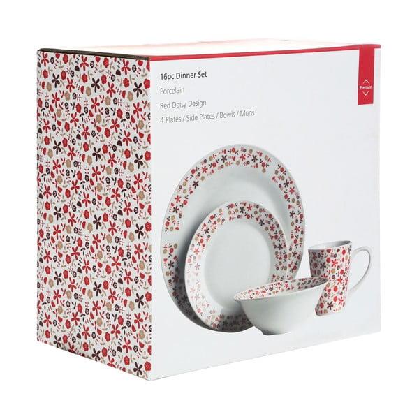 Zestaw naczyń Premier Housewares Red Daisy, 16 sztuk