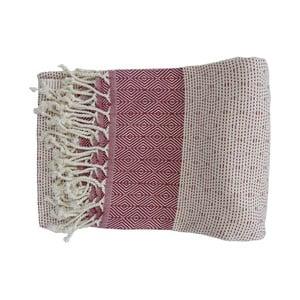 Czerwono-biały ręcznie tkany ręcznik z bawełny premium Nefes,100x180 cm